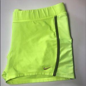 NWOT Neon Yellow NIKE DriFit Spandex Shorts
